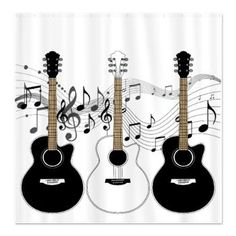 Black And White Acoustic Guitars Shower Curtain Music Luna Clical Guitar