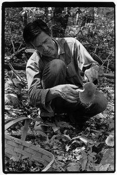 John Cage picking mushrooms.William Gedney.