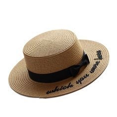 >> Click to Buy << 2017 Summer new Embroidery Letter Boater Hat Ribbon Round Bow Flat Top Wide Brim Straw Hat Women Fedora Panama Hat free shipping #Affiliate