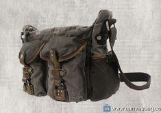 Genuine-Leather-Canvas-Shoulder-Bag-Vintage-Messenger-Bag-4 Vintage Messenger Bag, Canvas Shoulder Bag, Leather Bag, Satchel, Bags, Accessories, Handbags, Crossbody Bag, Bag