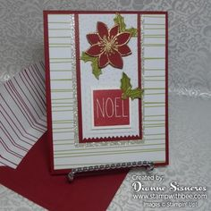 November 2015 paper pumpkin alternative. These cards were made by cutting one of the base cards in half and then trimming them to 4″ x 5 1/4″ to fit on my Cherry Cobbler base card.  The Poinsettia is from our October Paper Pumpkin.  I used versamark to stamp the flower on the Cherry Cobbler and then heat embossed it with gold.
