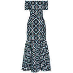 Temperley London Onyx Jacquard Dress (5.800 RON) ❤ liked on Polyvore featuring dresses, long dress, multi, temperley london, print dresses, long print dress, off the shoulder long dress and pattern dress