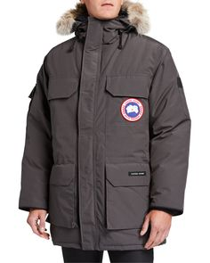 Canada Goose Expedition Down Parka With Genuine Coyote Fur Trim In Graphite Hooded Parka, Parka Coat, Canada Goose Mens, Canada Goose Jackets, Canada Goose Expedition Parka, Polar Bears International, White Ducks, Outdoor Wear, Down Parka