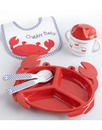 Baby Aspen Crabby Baby Mealtime Gift Set - Mia has this! Baby Shower Diapers, Baby Shower Gifts, Crab Feast, Baby Feeding Pillow, Baby Aspen, Baby Plates, Retro Baby, Unique Baby Gifts, Baby Gift Sets