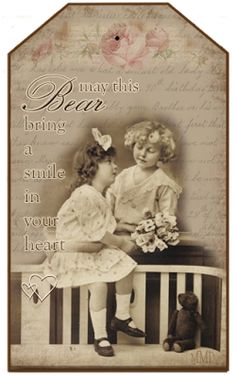 Milly Me® Teddy Bears: Free Vintage Tags: for Valentine's Day