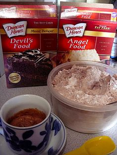 Genius! ------1-2-3 Cake. I LOVE this idea!!! You need two boxes of cake mix. One can be any flavor you prefer, but the other MUST be Angel Food cake mix. Mix them together (shake them in a big ziploc bag or stir them together in a big bowl). Then simply store the mixture in an airtight container until you get the urge for dessert. Then just put three tablespoons of the dry mixture in a big coffee mug and stir in two tablespoons of water. Microwave it for one minute and you will have a single...