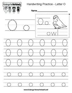 Letter O writing practice worksheet for kindergarten kids. This series of handwriting alphabet worksheets can also be cut out to make an original alphabet card or booklet. Handwriting Worksheets For Kindergarten, Alphabet Writing Worksheets, Printable Preschool Worksheets, Preschool Writing, Preschool Letters, Handwriting Alphabet, Free Printable, Kids Alphabet, Tracing Letters