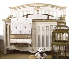 fleur de lis bedding | Antique gold metallic and ivory fleur de lis baby crib bedding set for ...