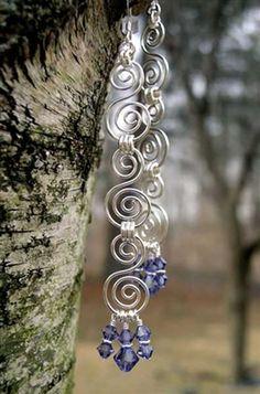 Silver Triple Spiral Shoulder Duster Earrings