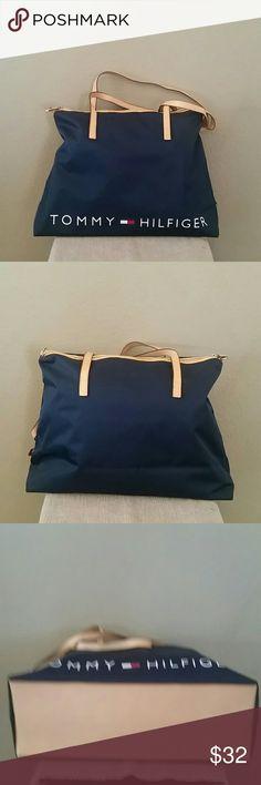 NWOT Tommy Hilfiger blue tote bag large overnight Tommy Hilfiger large tote, never used, approx 18x6.5x13, Tommy Hilfiger Bags Totes