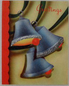 474 40s ART Deco Bells Vintage Christmas Greeting Card   eBay