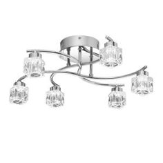 Quoizel Polished Chrome Clear Hollow 6 Light Wide Integrated LED Flush Mount Ceiling Fixture with Pressed Crystal Shades