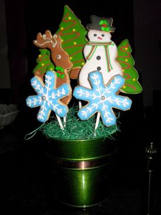 Winter Cookie Bouquet. Celebrate Winter with these delicious, hand decorated sugar cookies.