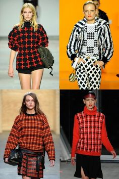 1. A GEOMETRIC JUMPER  Chunky knit? Check. Pattern? Um, check… Be sure to make a graphic statement with your winter woolens this season.  Clockwise from top left: Unique, Kenzo, Jonathan Saunders, Proenza Schouler.