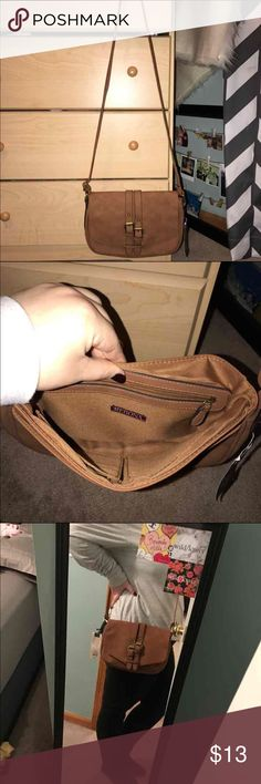 Merona crossbody bag Beautiful classic butternut color.  Has a rich texture to it. Super smooth.  Brand new with tags. No flaws!  Super spacious.  Comes from a clean/// smoke free home!  Price firm!!:)  Any ?'s please ask. Merona Bags Crossbody Bags