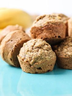 Gluten-free Vegan Mini Banana Muffins. Made with oat flour, refined sugar-free, and low fat. Flavor is even better on day 2!