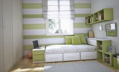 Teens Room:Ravishing Teen Bedroom Decoration Ideas With Stripes Green White Painted Wall Also Dotted Bedding Sets Plus Green Cuhsions And Wall Mount Shelves Lovely Teenager Room Ideas for Smart Student