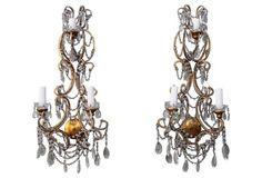 Italian Crystal Sconces, Pair