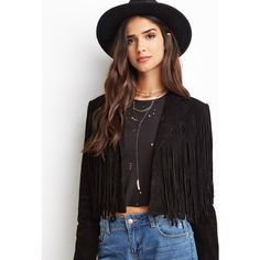 Forever 21 Forever 21 Women's  Genuine Suede Fringe Jacket featuring polyvore, fashion, clothing, outerwear, jackets, real leather jacket, 100 leather jacket, genuine leather jacket, open front jacket and long sleeve jacket
