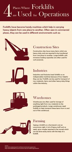 In heavy industries, there is huge expansion on use of forklifts. Forklifts can be used for many purposes at many places such as warehouse, Construction Sites, Farming etc.