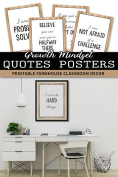 These growth mindset posters for kids and teachers will look great in your rustic or farmhouse themed classroom decor. They will help you add a little something to your lessons for preschool, kindergarten, first grade (1st grade), elementary and middle school.A great alternative to the old banner or pennant, this display of affirmations and quotes for students will help them set goals and learn the difference between fixed vs growth mindset.These farmhouse decorations can be hung by the… Classroom Helpers, Classroom Activities, Quotes For Students, Quotes For Kids, Classroom Setting, Classroom Decor, Growth Mindset Posters, Preschool Kindergarten, Teaching Materials
