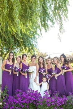 pretty purple bridesmaid dresses, purple wedding bouquets by lottie Amsale Bridesmaid, Wedding Bridesmaid Dresses, Wedding Party Dresses, Bright Purple Bridesmaid Dresses, Purple Dress, Purple Wedding Bouquets, Wedding Colors, Wedding Styles, Pink Bouquet