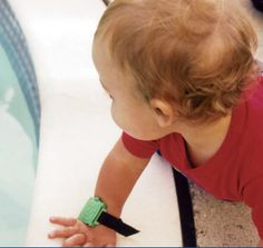 The Blue Safety Turtle Wristband is a waterproof pool alarm system that fastens onto your child's wrist like a bracelet