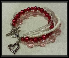 DIY valentines day bracelet idea. Love. Hearts. Red. Pink. White. Crystal.