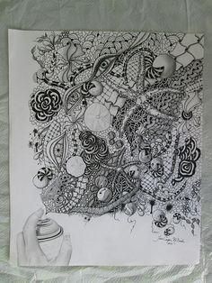 Spray | janiejoey / Jane McBride via Flickr - pen, pencil and watercolor; Challenge 138 from Zentangle Diva site using patterns around you to make ideas for borders. The artist was inspired by seaweed, shells, rope, starfish, sand dollars, nets, stones, mist, sand, and all things beach.