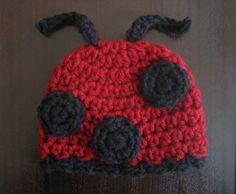 Crochet Hat Pattern Ladybug Beanie Hat Newborn to Adult