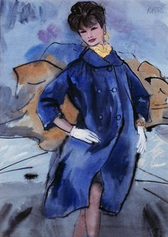 Fashion Illustration by René Bouche    Seated female figure in blue coat with yellow scarf on blue background. Color