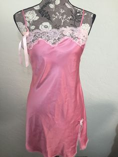 Victoria Secret Sexy Night Gown Baby Pink Lace Side Slit Size s Small | eBay
