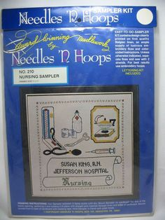 Nursing Sampler Stamped Cross Stitch Embroidery Kit Needles N Hoops #210  #NeedledNHoops #Frame