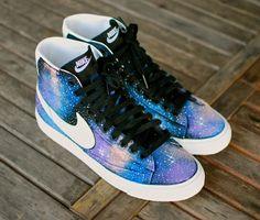 Custom Hand-Painted Nike Blazer Mid Galaxy Sneakers