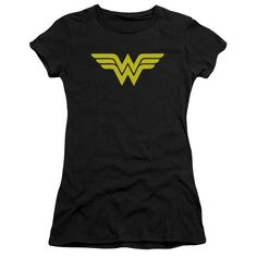 DC/WONDER WOMAN LOGO-S/S JUNIOR SHEER-BLACK