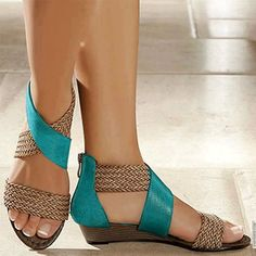 Women Shoes, Women's Casual Colorblock Woven Sandals Peep Toe Wedges, Wedge Sandals, Roman Sandals, Summer Wedges, Summer Shoes, Retro Stil, Style Retro, Fashion Sandals, Blue Sandals