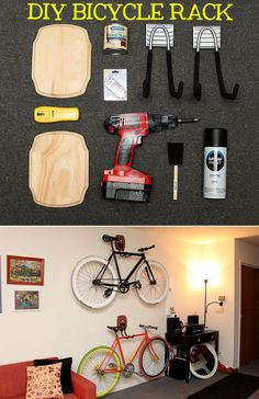 Heres a DIY bike rack made from: wood plaques, hooks, spray paint, book tags, wood stain, a drill, a stud finder, hammer and nails, level, measuring tape, and countersink. Full tutorial here.