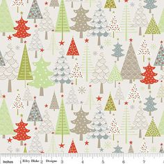 Grey Green and Red Christmas Tree Flannel, A Merry Little Christmas By Zoe Pearn For Riley Blake, Merry Trees in Taupe, 1 yard