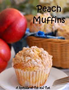 Breakfast Rocks with these Peach Muffins!  Made with frozen or fresh peaches!