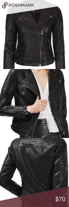 Top shop Leather Jacket I got this a while ago and wore it once, not really my style. Topshop Jackets & Coats
