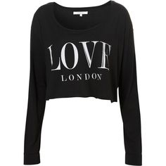 **Love London Crop by Illustrated People ($28) ❤ liked on Polyvore featuring tops, shirts, sweaters, crop top, long sleeves, black, pattern shirts, print crop top, black long sleeve shirt and shirts & tops