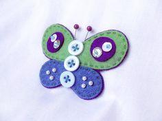 Felt Butterfly Brooch - green and blue - inspiration