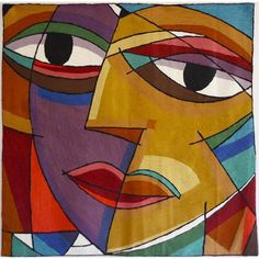 Abstract Multicolor Face Tapestry  , Handmade in India                                                                                                                                                     More