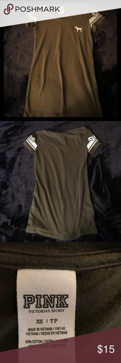 Victoria's Secret Pink tee shirt Olive green short sleeve with white detail on sleeves. PINK Victoria's Secret Tops Tees - Short Sleeve