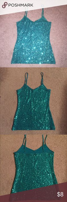 Express sparkle cami V neck express sequined cami. Great condition. Only worn once. Express Tops Camisoles
