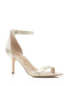 $Sam Edelman Patti Metallic Ankle Strap Sandals - Bloomingdale's
