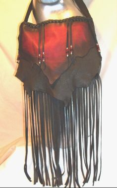 "Leather Purse HoLIDAY GiFT IDea Fringed Bag Deerskin Handbag Custom Made Leather Purse ""CUTE LITTLE DRAGON"" Handmade by Debbie Leather"