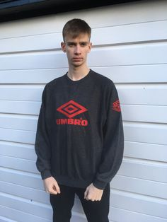 Men's vintage 80s Umbro sweatshirt grey jumper 80s jumper red Sportswear Pullover top