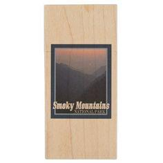 Vintage Style Smoky Mountain National Park Sunset Wood Flash Drive