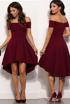 On Sale Glorious Short A-line/Princess Evening Dresses, Burgundy Short Sleeve With Pleated High-Low Prom Dresses #shorteveningdresses #promdressesred #sexydresses #partydresses2018